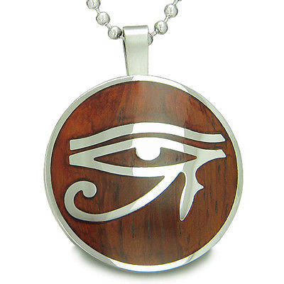 All Seeing Eye of Horus Egyptian Magic Cherry Wood Amulet Magic Powers Circle Pu