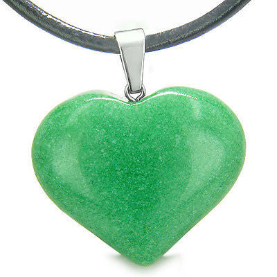 Amulet Large Puffy Heart Lucky Charm in Green Jade Gemstone Good Luck Powers Pen