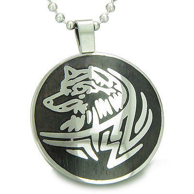 Courage and Protection Powers Wise Wolf Black Wood Amulet Magic Powers Circle Pu