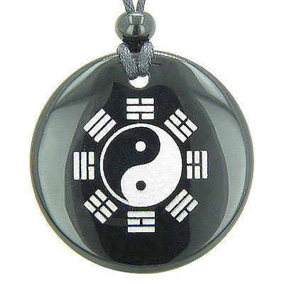 Yin Yang BA GUA Eight Trigrams Amulet Black Onyx Magic Gemstone Circle Spiritual