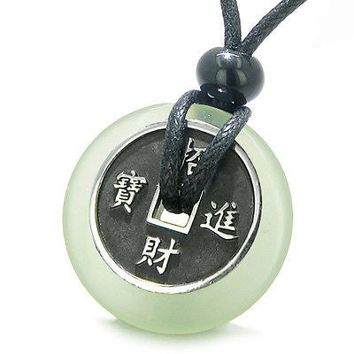 Amulet Lucky Coin Charm Donut in Light Green Jade Protection Powers Antiqued Sta