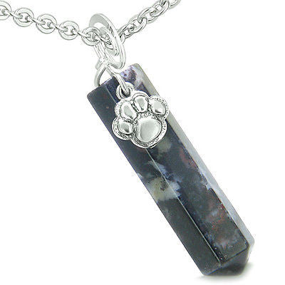 Amulet Lucky Wolf Paw Crystal Point Charm Dragon Blood Gemstone Spiritual and Pr