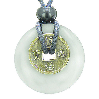 Antique Lucky Coin Evil Eye Protection Powers Amulet White Jade Gemstone 30mm Do