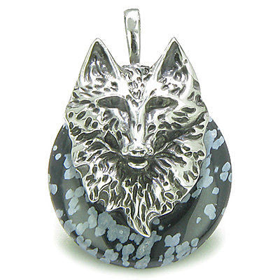 Amulet Wolf Head Courage and Protection Powers Lucky Donut Snowflake Obsidian St
