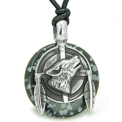 Amulet Howling Wolf and Feathers Medallion Protection Powers Snowflake Obsidian