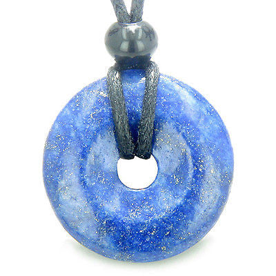 Lapis Lazuli Lucky Donut Good Luck Powers Magic Amulet Gemstone Pendant on Adjus