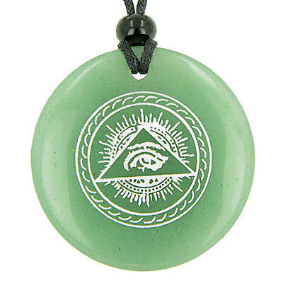 All Seeing Third Eye Amulet Green Aventurine Gemstone Circle Good Luck Powers Pe