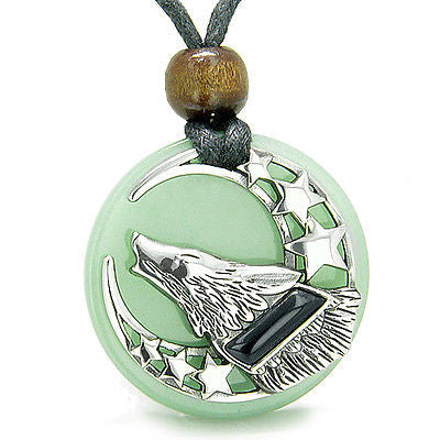 Amulet Black Onyx Howling Wolf, Moon and Stars on Green Aventurine Medallion Spi