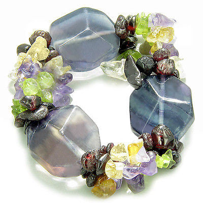 Amulet Large Faceted Fluorite Crystals with Garnet, Peridot, Citrine Amethyst Ch