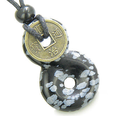 Infinity Magic Knot Lucky Coin and Evil Eye Protection Amulet Snowflake Obsidian