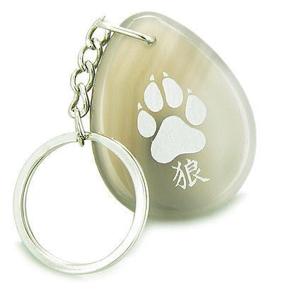 Lucky Wolf Paw Kanji Good Luck Amulet Natural Agate Wish Totem Gem Stone Keychai