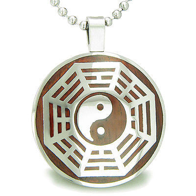 Yin Yang BA GUA Eight Trigrams Cherry Wood Amulet Magic Powers Circle Pure Stain