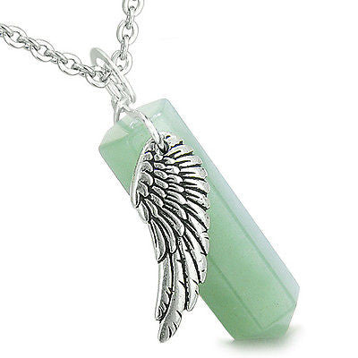 Amulet Angel Wing Archangel Thavael Magic Wand Crystal Point Green Aventurine Sp