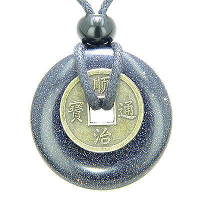 Antique Lucky Coin Good Luck Powers Amulet Blue Goldstone Gemstone 30mm Donut Pe