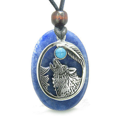 Amulet Courage Howling Wolf and Moon Charm in Sodalite and Turquoise Eye Gemston