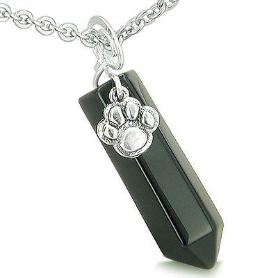 Amulet Lucky Wolf Paw Crystal Point Charm Black Onyx Gemstone Spiritual and Prot