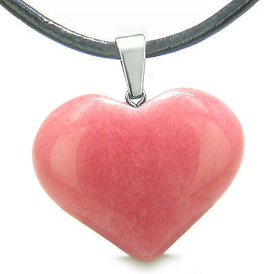 Amulet Large Puffy Heart Lucky Charm in Candy Pink Jade Gemstone Good Luck Power