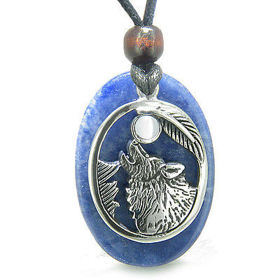 Amulet Courage Howling Wolf and Moon Charm in Sodalite White Cats Eye Gemstones