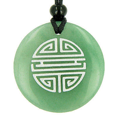 Long Life Force Magic Amulet Green Aventurine Gemstone Circle Good Luck Powers P