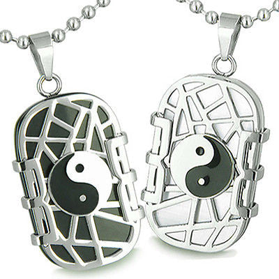 Amulets Love Couple Set Cosmic Balance Yin Yang Dog Tags Black Onyx White Cat's