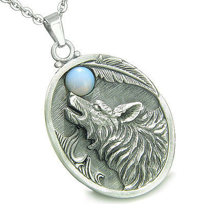 Amulet Howling Wolf and Opalite Gemstone Oval Shape Fine Pewter Lucky Charm Pen