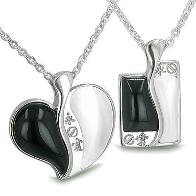 Amulets Love Forever Kanji Couple or Best Friends Yin Yang Heart and Tag Magic P