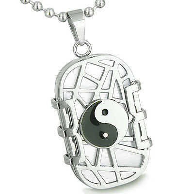 Amulet Cosmic Balance Energy Yin Yang Dog Tag White Cats Eye Good Luck Charm Mag