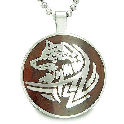 Courage and Protection Powers Wise Wolf Cherry Wood Amulet Magic Powers Circle P