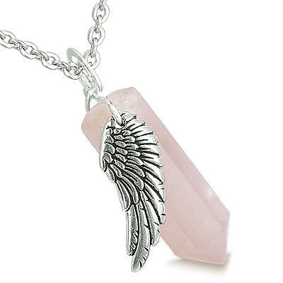 Amulet Angel Wing Magic Wand Crystal Point Rose Quartz Gemstone Healing and Spir