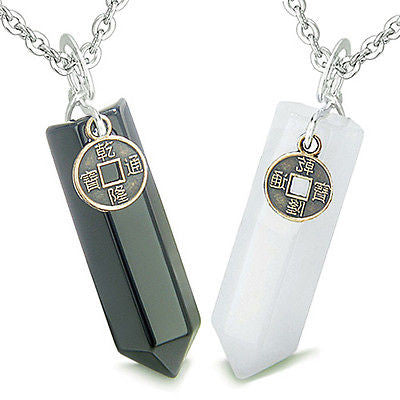 Amulets Positive Energy Love Couple or Best Friends Lucky Coin Crystal Points Wh