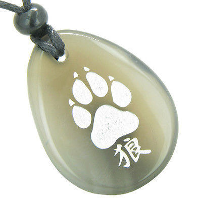 Lucky Wolf Paw Kanji Good Luck Amulet Natural Agate Wish Totem Gem Stone Necklac