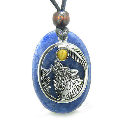 Amulet Courage Howling Wolf and Moon Charm in Sodalite and Tiger Eye Eye Gemston