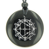 Astrological Seal Zodiac Star of David Amulet Black Onyx Magic Gemstone Circle S