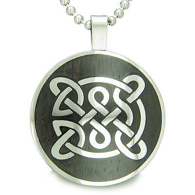 Life Protection Celtic Shield Knot Black Wood Amulet Magic Powers Circle Pure St