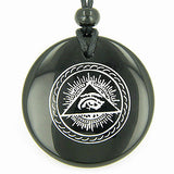 All Seeing Third Eye Amulet Black Onyx Gemstone Circle Spiritual Powers Pendant