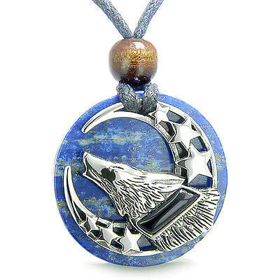 Amulet Black Onyx Howling Wolf, Moon and Stars on Lapis Lazuli Medallion Spiritu