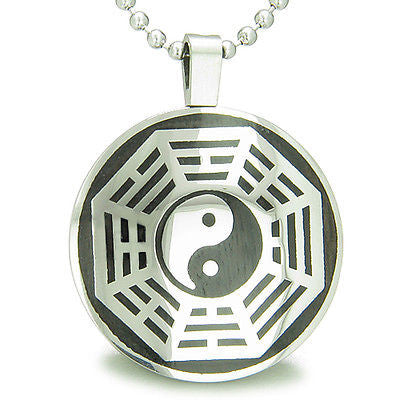 Yin Yang BA GUA Eight Trigrams Black Wood Amulet Magic Powers Circle Pure Stainl