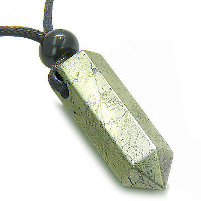 Amulet Golden Pyrite Iron Crystal Point Protection and Magic Powers Wand Pendant
