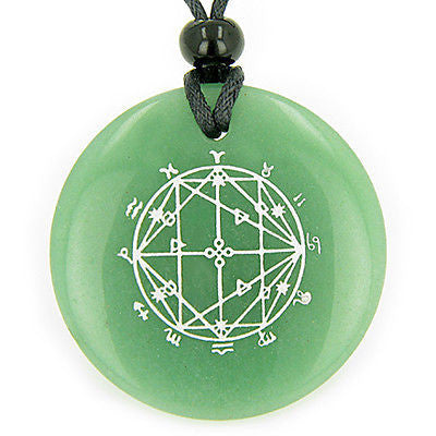 Astrological Seal Zodiac Star of David Amulet Green Aventurine Magic Gemstone Ci