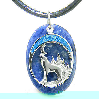 Howling Wolf and Moon Amulet Good Luck Powers Sodalite Gemstone Pendant on Leath