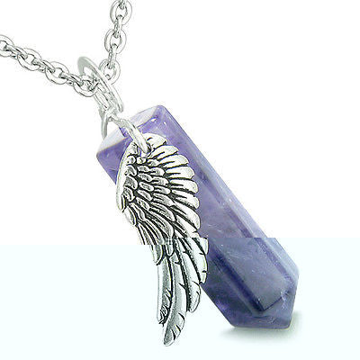 Amulet Angel Wing Archangel Raphael Magic Wand Crystal Point Amethyst Positive S