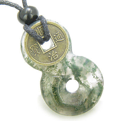 Infinity Magic Knot Lucky Coin and Good Luck Amulet Green Moss Agate Gemstone Pe