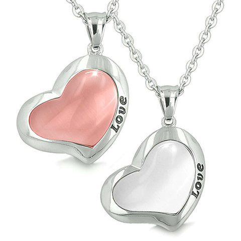 Yin Yang Powers Love Eternity Lucky Hearts Amulets Snow White and Pink Cats Eye Pendant Necklaces