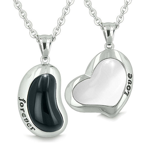 Yin Yang Powers Love Forever Lucky Bean Heart Eternity Amulets Simulated Onyx White Cats Eye Necklaces