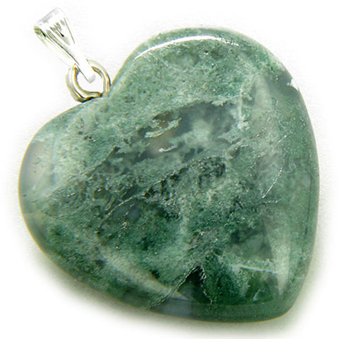 A Lucky Puffy Moss Agate Gemstone Heart Good Luck Talisman Pendant
