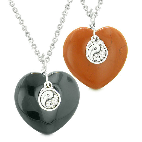 Yin Yang Powers Magic Hearts Love Couples or Best Friends Set Black Agate Red Jasper Necklaces