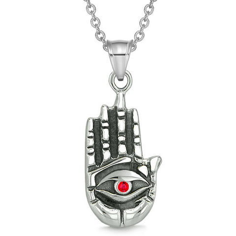 All Seeing and Feeling Buddha Eye Hamsa Hand Magic Powers Amulet Red Crystal Pendant 18 inch Necklace