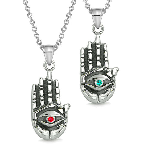 All Seeing and Feeling Buddha Eye Hand Love Couples or Best Friends Amulets Green Red Pendant Necklaces