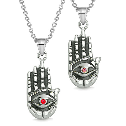 All Seeing and Feeling Buddha Eye Hand Love Couples or Best Friends Amulets Pink Red Pendant Necklaces