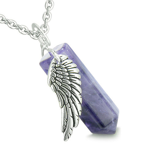 Amulet Angel Wing Magic Crystal Point Amethyst Healing and Pendant 18 Inch Necklace
